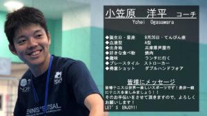 テニススクール・ノア 横浜センター南校 コーチ 小笠原 洋平